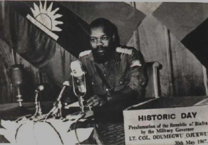 Archive photo of Odomegwu Ojukwu declaring war