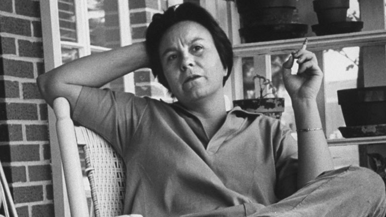 Harper Lee on the porch (file pic)