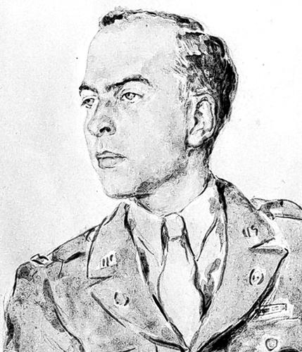 watercolor portrait of John D. Skilton Jr in uniform by Sabine Lepsius