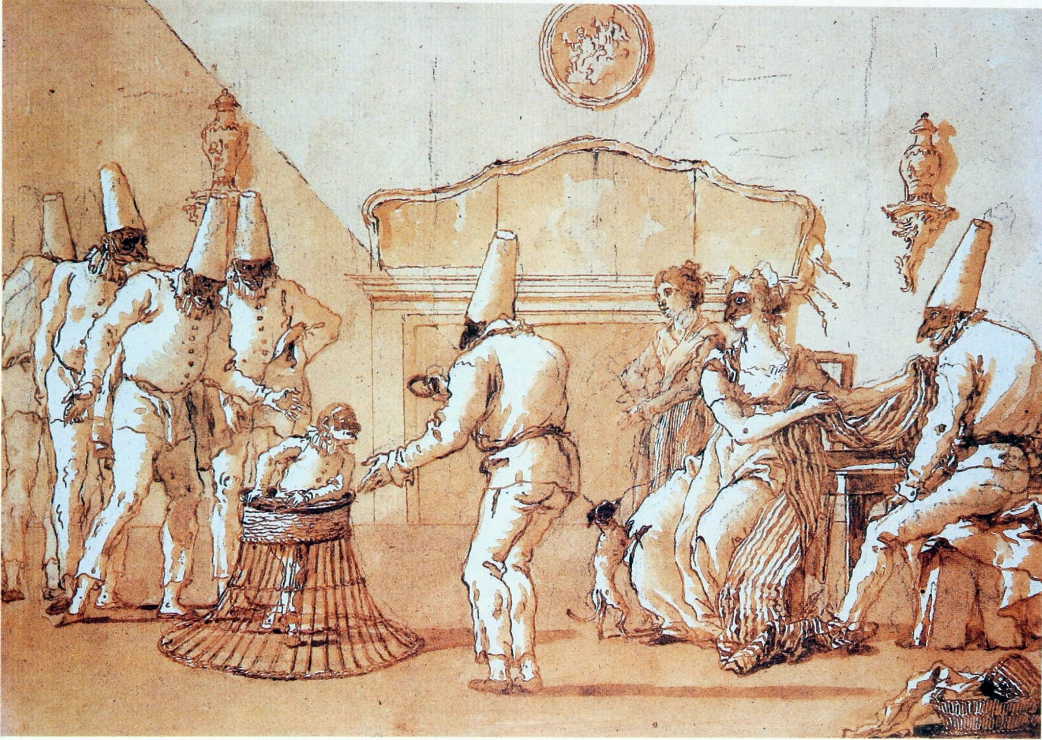 The Childhood of Punchinello, drawing by Domenico Tiepolo