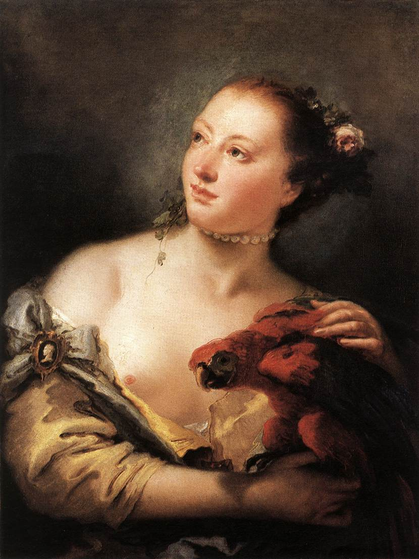 Girl With a Parrot pastel by Lorenzo Tiepolo