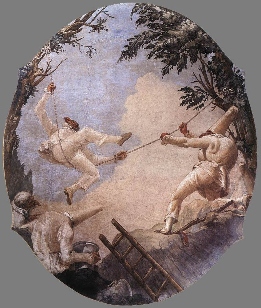 Punchinelli on swings, a ceiling fresco by Domenico Tiepolo