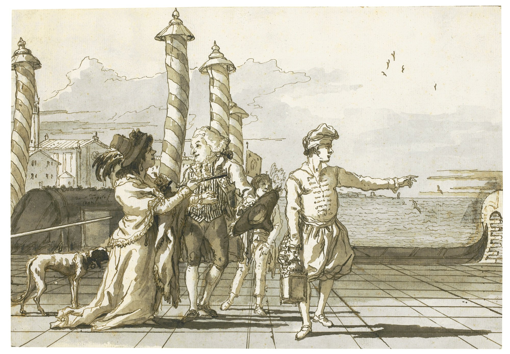 Showing the way to a noble couple, drawing by Domenico Tiepolo