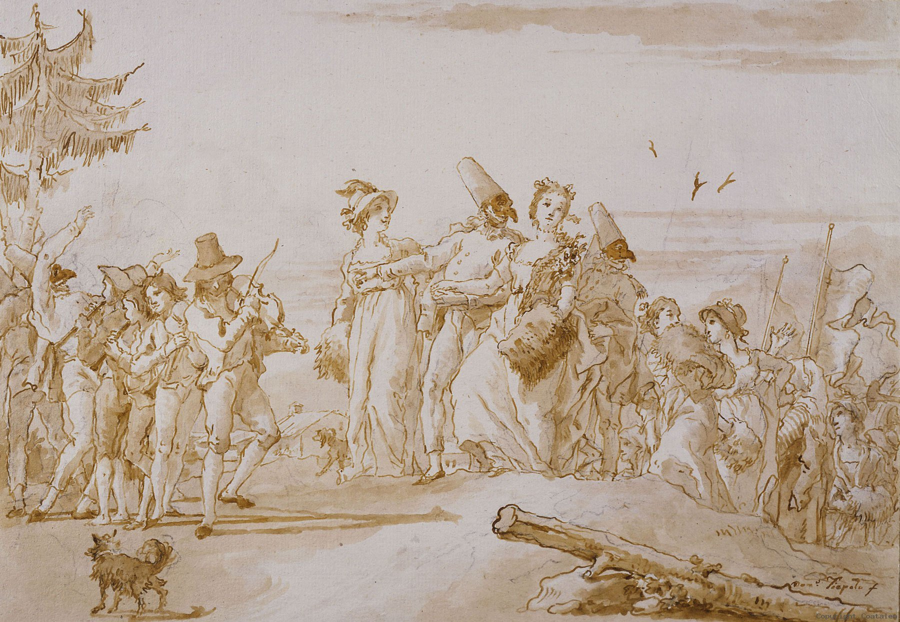 The Bridal Procession of Punchinello's Parents, drawing by Domenico Tiepolo